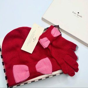 New Kate Spade Colorblock Bow Beanie & Gloves Set